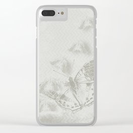 delicate butterflies and textured chevron pattern Clear iPhone Case