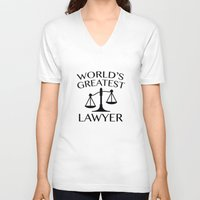 lawyer V-neck T-shirts featuring World's Greatest Lawyer by AmazingVision