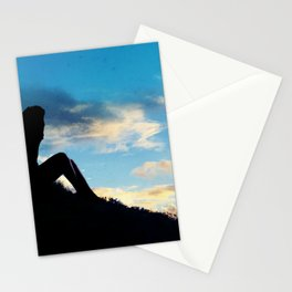 Evening Sunset Landscape - Mountain Girl Stationery Cards