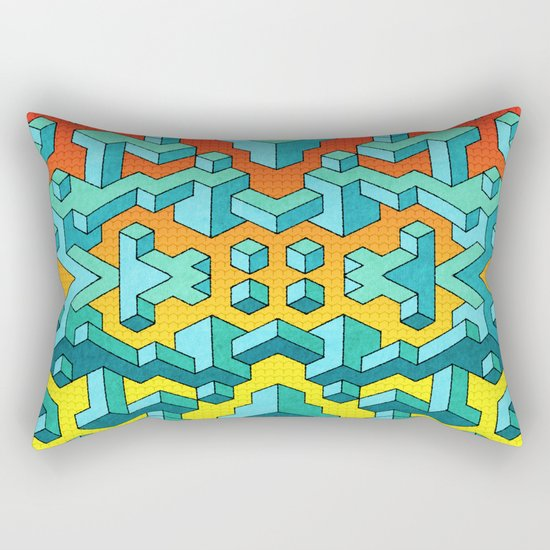 Miles and Miles of Squares Rectangular Pillow