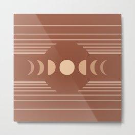 Geometric Lines // Moon Phases 3 (Terracotta Themed) Metal Print
