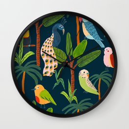 Jungle Birds Wall Clock