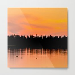 Orange Sunset With Forest Reflection On Lake Metal Print