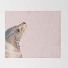 Lazy Glance - Sea Lion Watercolor Painting Throw Blanket
