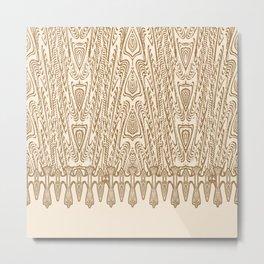 Sepia Macramé Arrowhead Chenille Lace Pattern Metal Print