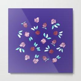 Clover Flowers on Purple Metal Print