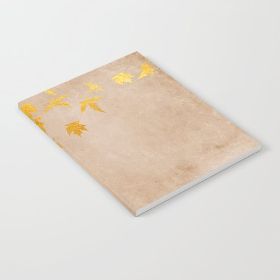 Gold leaves on grunge background - Autumn Sparkle Glitter design #Society6 Notebook