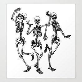 Three Dancing Skulls Art Print