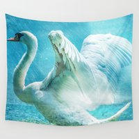 black swan Wall Tapestries featuring Swan by WonderfulDreamPicture