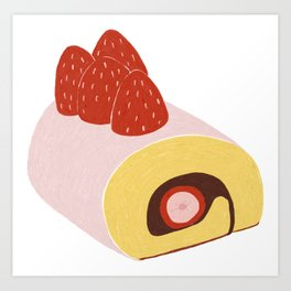 Cake Roll in Pink Art Print