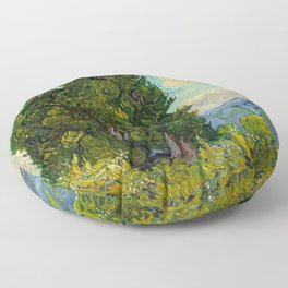 Cypresses Oil Painting Landscape Vincent van Gogh Floor Pillow