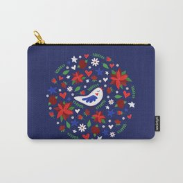 Holiday Bird & Poinsettias Carry-All Pouch