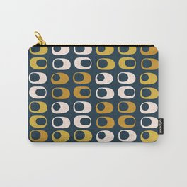Midcentury Modern Pods 2 Minimalist Abstract Pattern in Mustard, Pale Pink, and Navy Carry-All Pouch