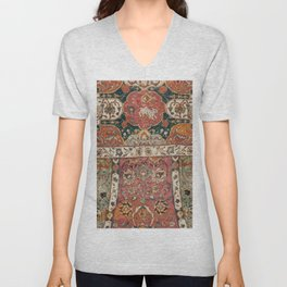 Persian Medallion Rug V // 16th Century Distressed Red Green Blue Flowery Colorful Ornate Pattern Unisex V-Neck