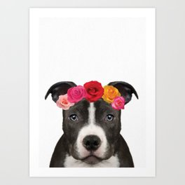 Staffy Rose Art Print