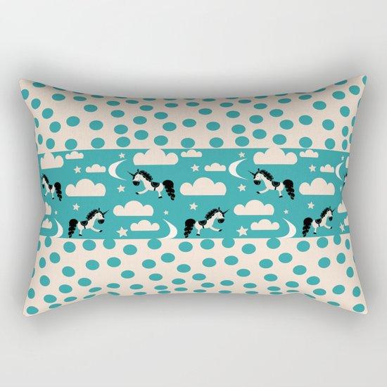 Unicorn Teal patchwork Rectangular Pillow