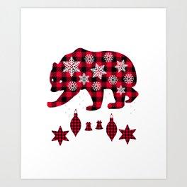 Brother Bear Matching Pajama Family Red Plaid Buffalo  Art Print
