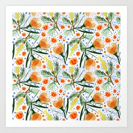 Australian Native Floral Pattern - Grevillea and Pincushion Flowers Art Print