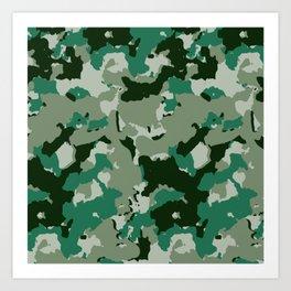 Green White Camouflage Pattern Camo Art Print