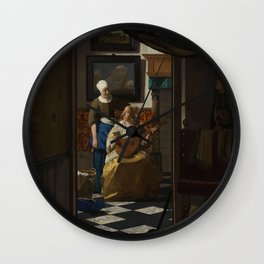 The Love Letter (ca 1669 -1670) by Johannes Vermeer Wall Clock