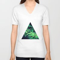 weed V-neck T-shirts featuring Smoke Weed by Lyre Aloise