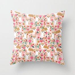 Corgi Florals - vintage corgi and florals gift gifts for dog lovers, corgi clothing, corgi decor, Throw Pillow