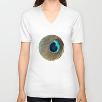 peacock feather V-neck T-shirts featuring Peacock feather by Hannah