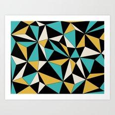 Geo - blue, orange, black and white. Art Print