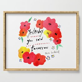 Shia Labeouf Motivational Typography with Flowers Serving Tray