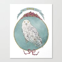 hedwig Canvas Prints featuring RIP Hedwig by 366Sketchbook