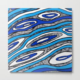 Blue Lines Wave Metal Print