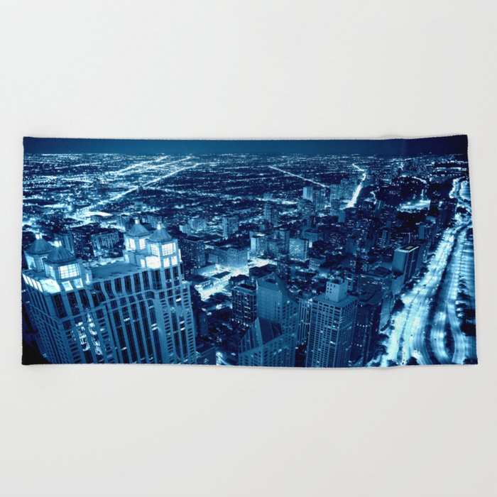 Chicago Nights Blue Beach Towel
