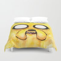 jake Duvet Covers featuring Jake Face by Olechka