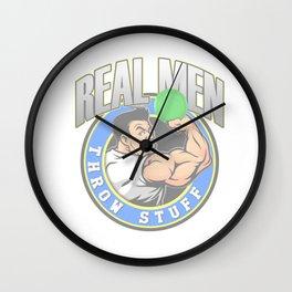Real Men Throw Stuff Funny Disc Golf Wall Clock