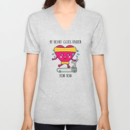 My heart goes faster for you Unisex V-Neck