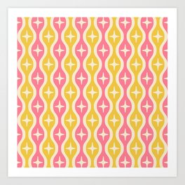 Mid century Modern Bulbous Star Pattern Pink and Yellow Art Print