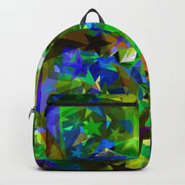 Bright blue stars from foil on yellow glass fragments. Backpack