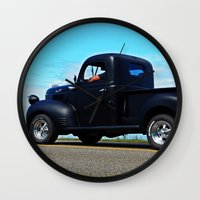 fargo Wall Clocks featuring Cruising the Waterfront in the old Fargo by DanByTheSea