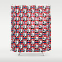 flag and portrait: Ibsen Shower Curtain