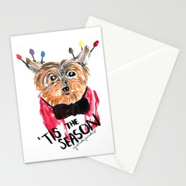 Holiday Dog, Tis the Season, Pinales Illustrated Stationery Cards