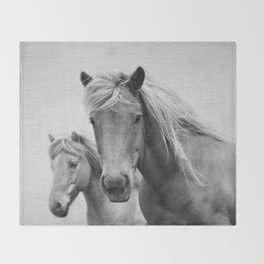 Horses - Black & White Throw Blanket