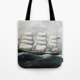 Vintage British Frigate Sailboat Painting (1881) Tote Bag
