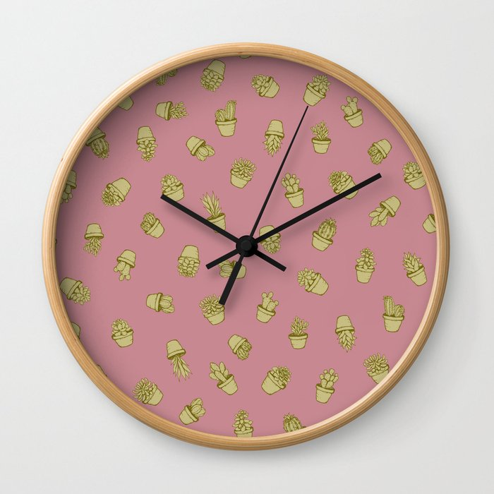 Pink+Mustard Succulents Wall Clock