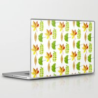 water colour Laptop & iPad Skins featuring Water Colour Leaves by Lily Mvc