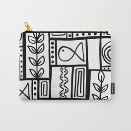 Fishes Seaweeds and Shells - Black and White Carry-All Pouch