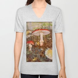 Forest scene with mushrooms in Fall Unisex V-Neck
