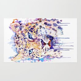 Watercolor Leopard Head Rug
