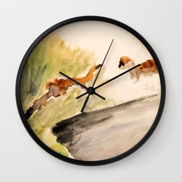 Stoat in the sunset (watercolor) Wall Clock