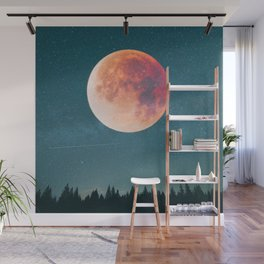Blood Moon Over the Forest on a Starry Night Wall Mural