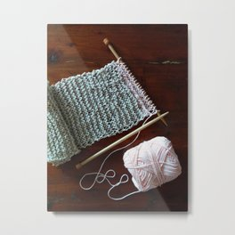 knitting, knitting photos, oatmeal color, peach, natural color, scarf, cotton Metal Print